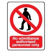 Prohibition safety sign - No Admit Authorised 058